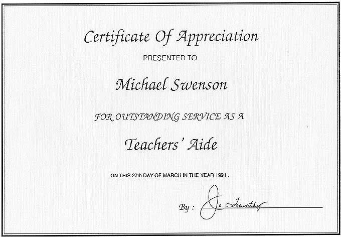 Teaching typing skills outstanding performance certificate
